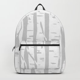 Woodcut Birches Grey Backpack
