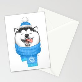 happy husky Stationery Cards