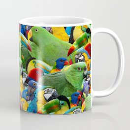 Parrots collage birds photo print parrots pattern green blue red yellow Coffee Mug