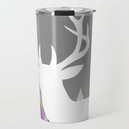 Deer Head Geometric Triangles | purple grey Travel Mug