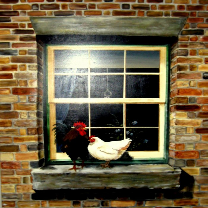 Rooster & Hen on a window Ledge Duvet Cover