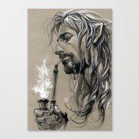smoking Canvas Prints featuring smoking by evankart