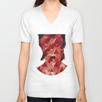bowie V-neck T-shirts featuring Bowie by Aivé Trujillo