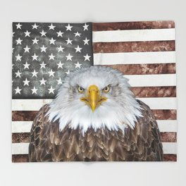 American Bald Eagle Patriot Throw Blanket