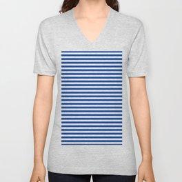 Geometric navy blue white nautical stripes pattern Unisex V-Neck