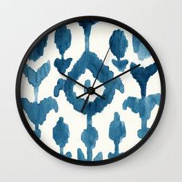 Painterly Flower Ikat Indigo Wall Clock