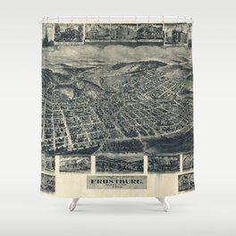 Vintage Pictorial Map of Frostburg MD (1905) Shower Curtain