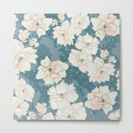 Teal and Peach Peony Floral Metal Print