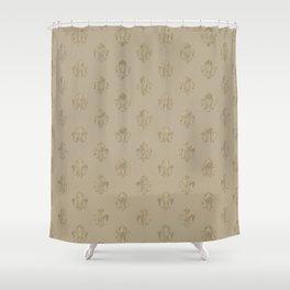 Fleur-de-lis Vintage Pastel Gold pattern Shower Curtain