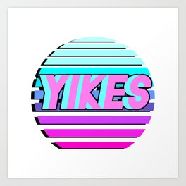 "Vaporwave pattern with palms and words ""yikes"" #2 Art Print"
