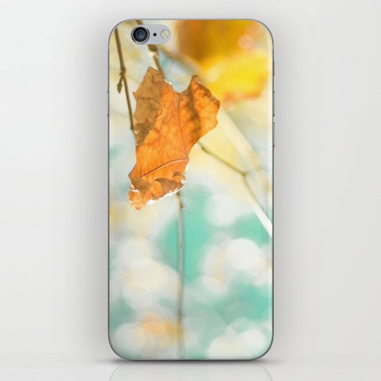 Gold Autumn Fall Leafs on Dreamy Blue Turquoise Vintage Retro Sky  iPhone & iPod Skin
