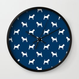 Chihuahua silhouette navy and white pet pattern dog pattern minimal chihuahuas Wall Clock