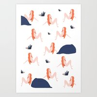 naked Art Prints featuring Naked by .eg.