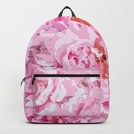 Elegant Abstract Watercolor Pink Peonies Backpack