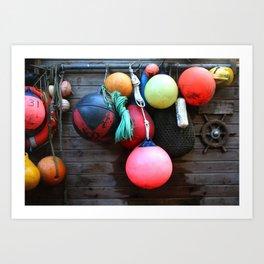 Colorful Seaside Buoys Art Print