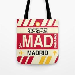 MAD Madrid • Airport Code and Vintage Baggage Tag Design Tote Bag