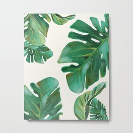 Monstera Leaf Pattern #2 White Background Metal Print