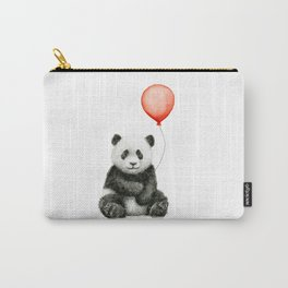 Panda and Red Balloon Baby Animals Watercolor Carry-All Pouch