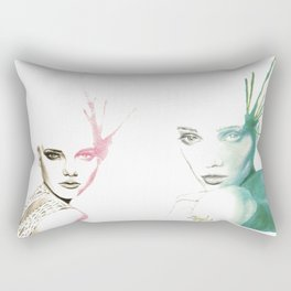 Two-Faced Faces Rectangular Pillow