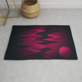 Dark Triangles (Peak Woods) Abstract Grunge Mountains Design (red/black) Rug