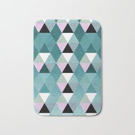 Geometric Prisme Pattern - Teal & Pink Bath Mat