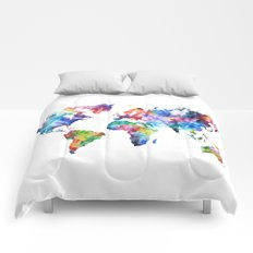 World Map Watercolor Painting Comforters