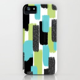 Turquoise and Black Glitter iPhone Case