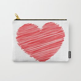 RED HEART SCRIBBLES Pop Art Carry-All Pouch