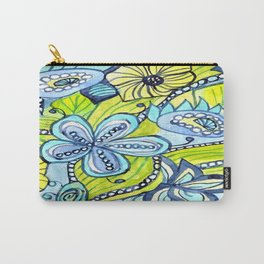 Turquoise, Yellow, and Green Floral Carry-All Pouch