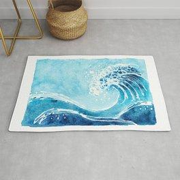 Watercolor Ocean Blue Wave Rug