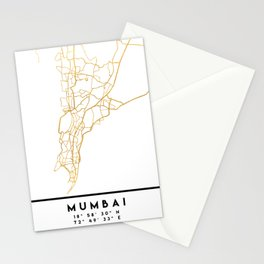 MUMBAI INDIA CITY STREET MAP ART Stationery Cards