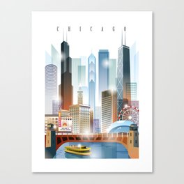 Chicago city skyline painting Canvas Print