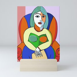 Woman With A Kindle Mini Art Print
