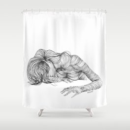 line drawing of a nude model Shower Curtain