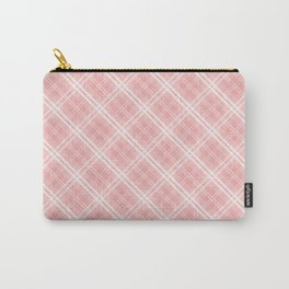 Blush Pink Valentine Sweetheart Tartan Plaid Check Carry-All Pouch