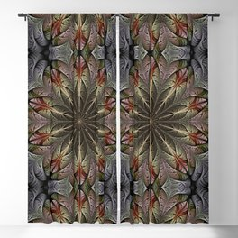 Fractal flower with a golden heart Blackout Curtain