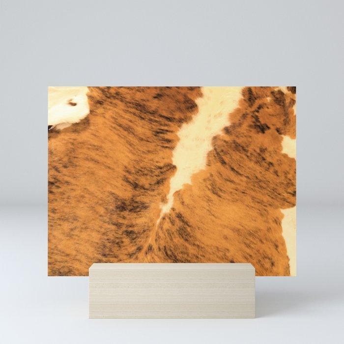 Burnt Orange Texas Longhorn Animal Leather Pattern Mini Art Print