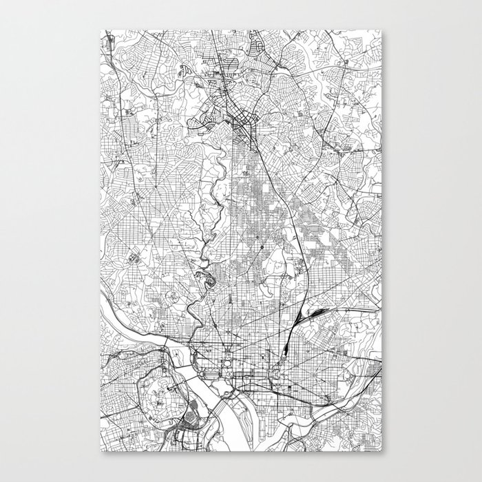 Washington D.C. White Map Leinwanddruck