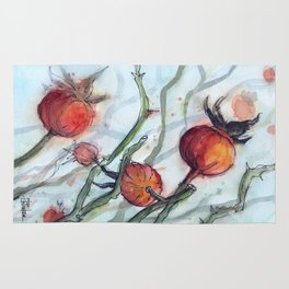 Rose Hips Abstract Watercolor Nature Rug