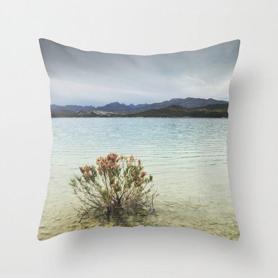 Storm at the mountains. Bermejales lake. Retro Throw Pillow