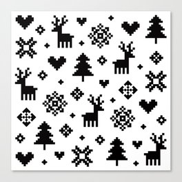 PIXEL PATTERN - WINTER FOREST Canvas Print