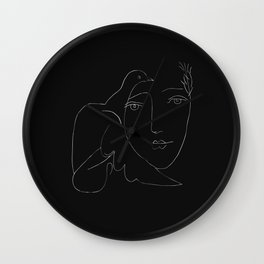 Picasso Line Art - Dove and Woman Wall Clock