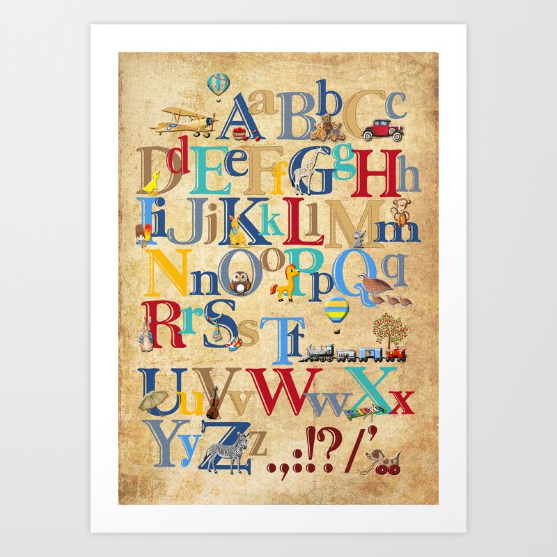Beautiful Alphabet Wall Art Nursery Component - The Wall Art ...