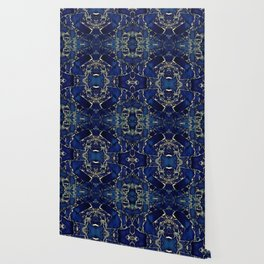 Dark blue stone marble abstract texture with gold streaks Wallpaper