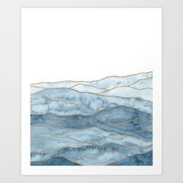 Indigo Abstract Mountains II Art Print
