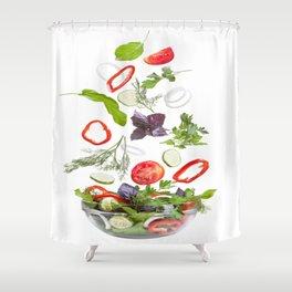greek salad food vegetables Shower Curtain