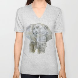 Elephant Watercolor Painting - African Animal Unisex V-Neck