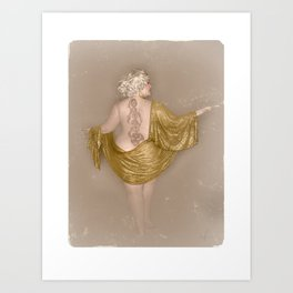 """""""Golden Goddess"""" - The Playful Pinup - Majestic Curvy Pin-up Beauty in Gold by Maxwell H. Johnson Art Print"""