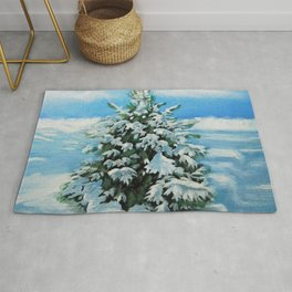 The Day After Snow Scene Art Rug