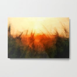 A wheat field glows in the orange light of the sunset Metal Print